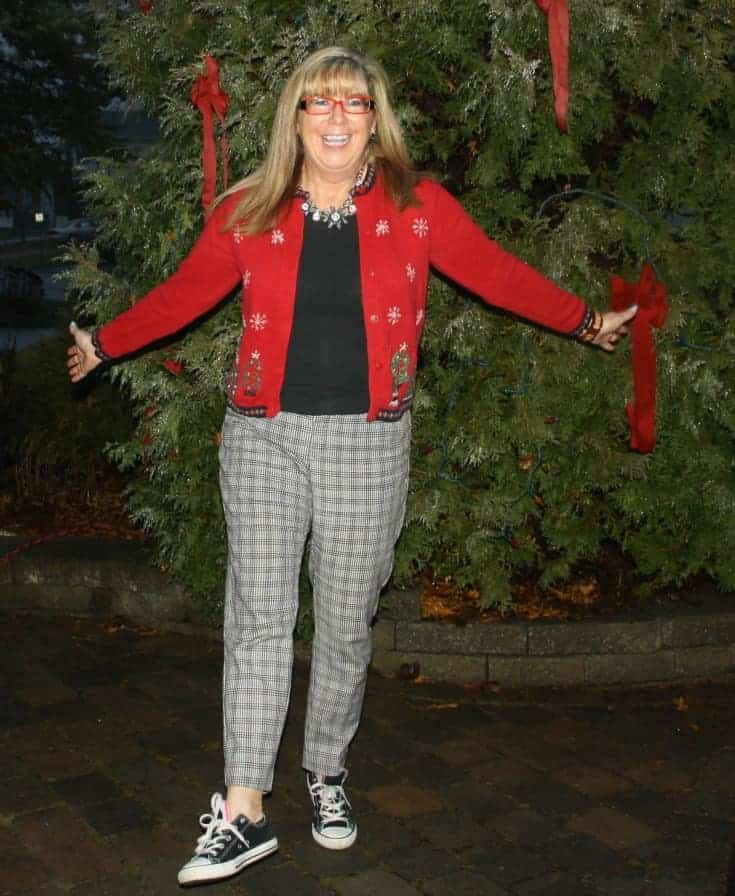 Target Plaid pants with a Christmas sweater and converse.3