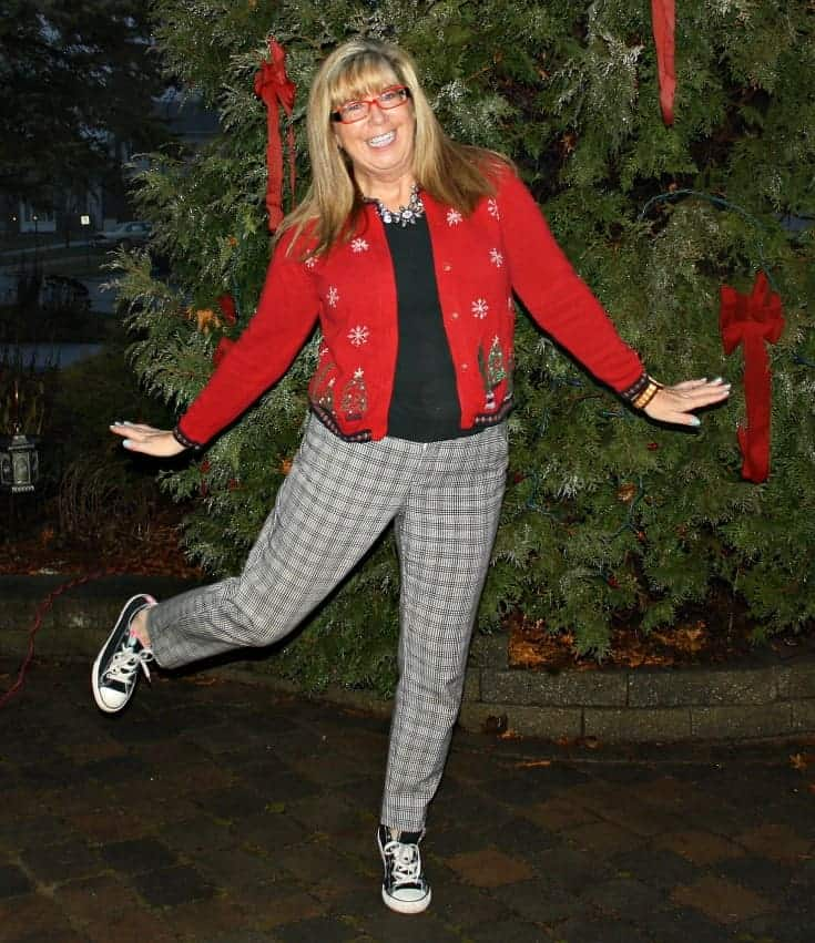 Target Plaid pants with a Christmas sweater and converse.2