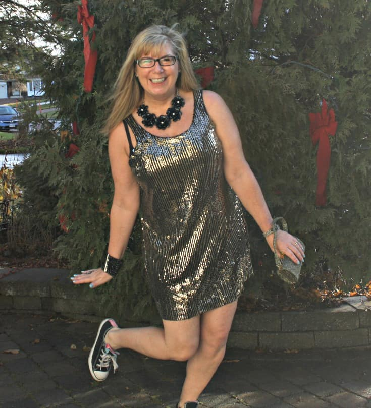 Gold sequin dress and converse for NYE 1