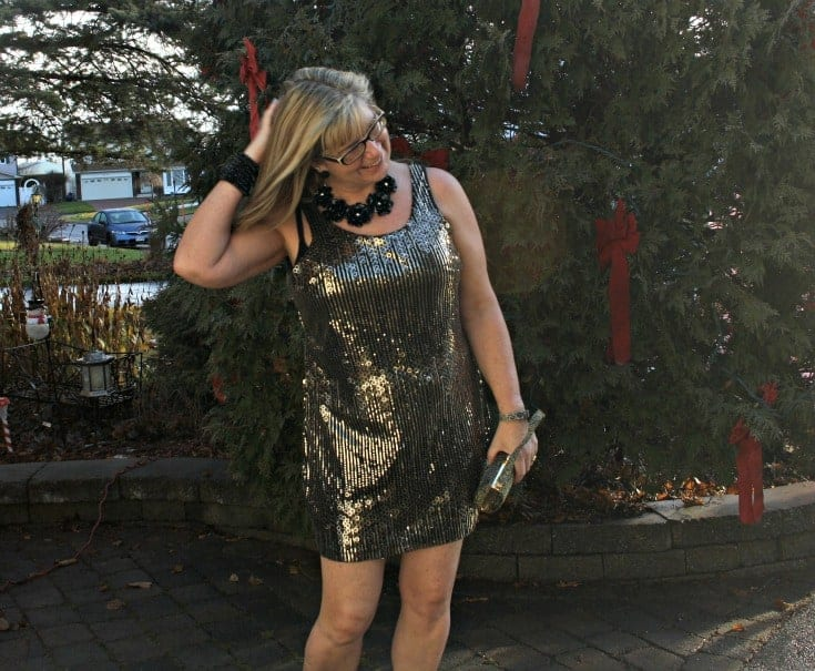 Gold sequin dress and converse for NYE 2