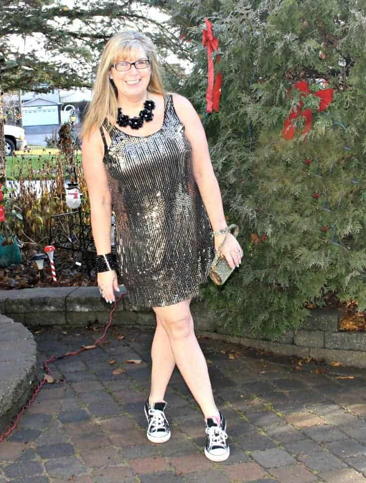 Gold sequin dress and converse for NYE 3