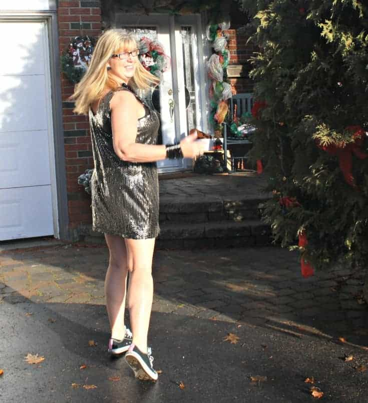 Gold sequin dress and converse for NYE 4