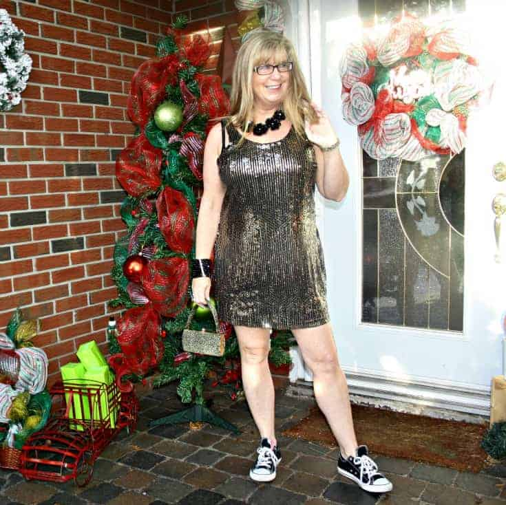 Gold sequin dress and converse for NYE 7