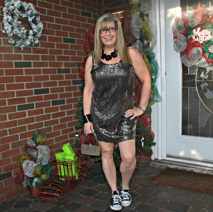Gold sequin dress and converse for NYE 8