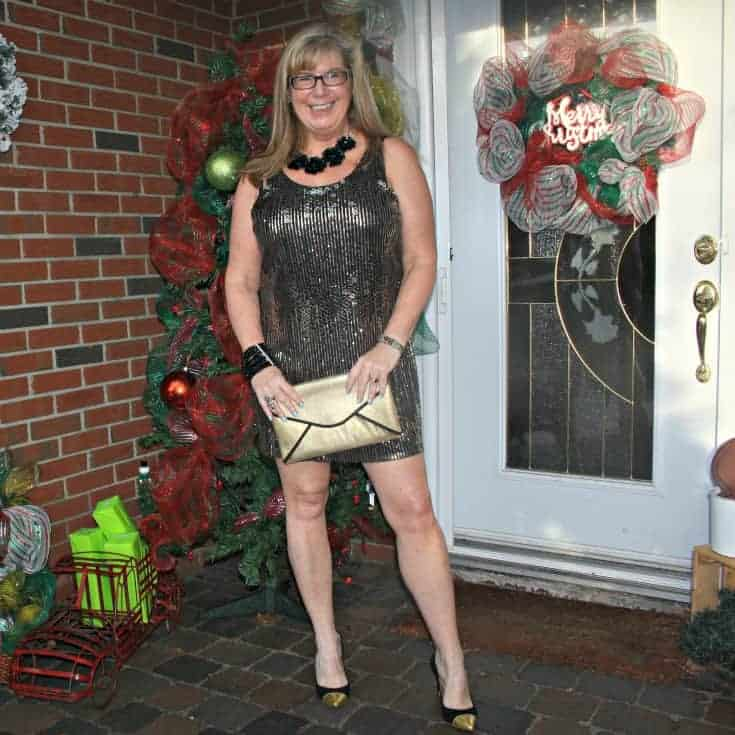 Gold sequin dress , envelope clutch and gold toe capped pumps from J Crew