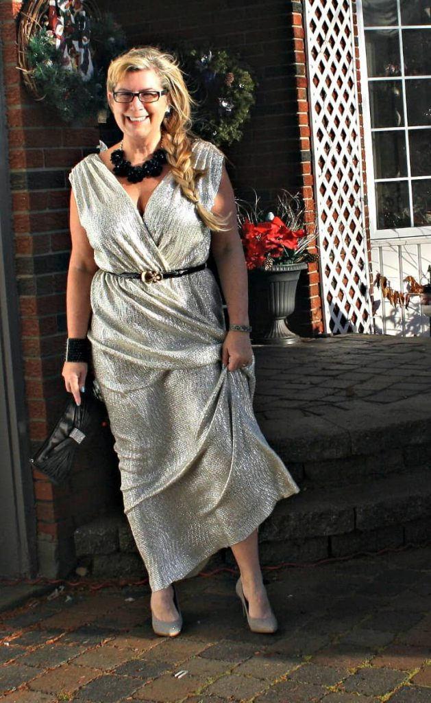 Gold Shimmer Dress from LuLu's with rose belt. Statement accessories from Walmart, Joe Fresh and Le Chateau  Old Navy Pumps