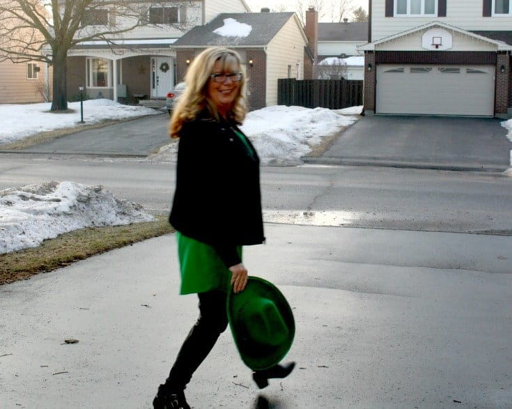 strolling Old Navy Kelly green shirt dress and banana republic black wool moto jacket
