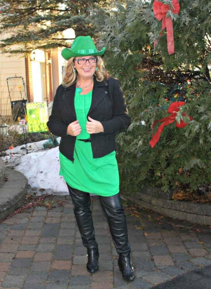 green cowboy hat and Old Navy Kelly green shirt dress and banana republic wool moto jacket