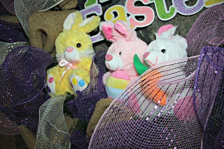 stuffed bunnies on a wreath