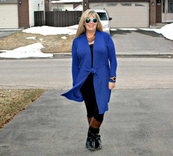 Royal Blue Cardi and tights from Giant Tiger and Target boots in the spring