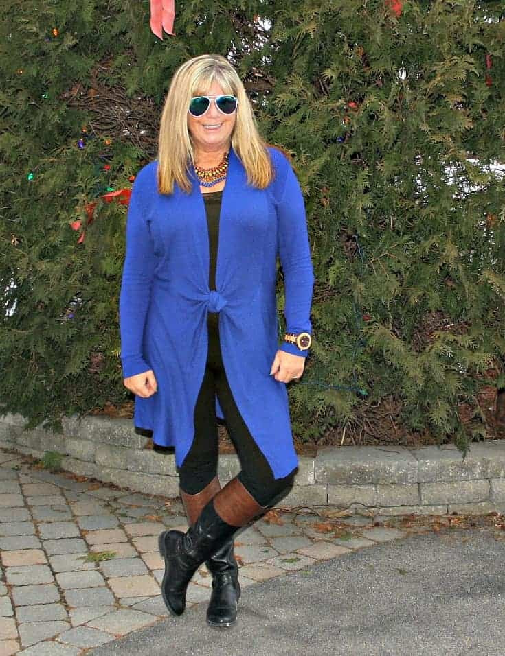 Jord Watch and a Royal Blue Cardi and tights from Giant Tiger and Target boots