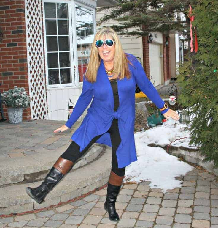 Royal Blue Cardi and tights from Giant Tiger and Target boots