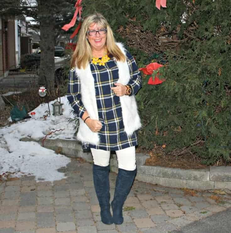 old navy blue plaid dress and white fur vest and blue suede boots