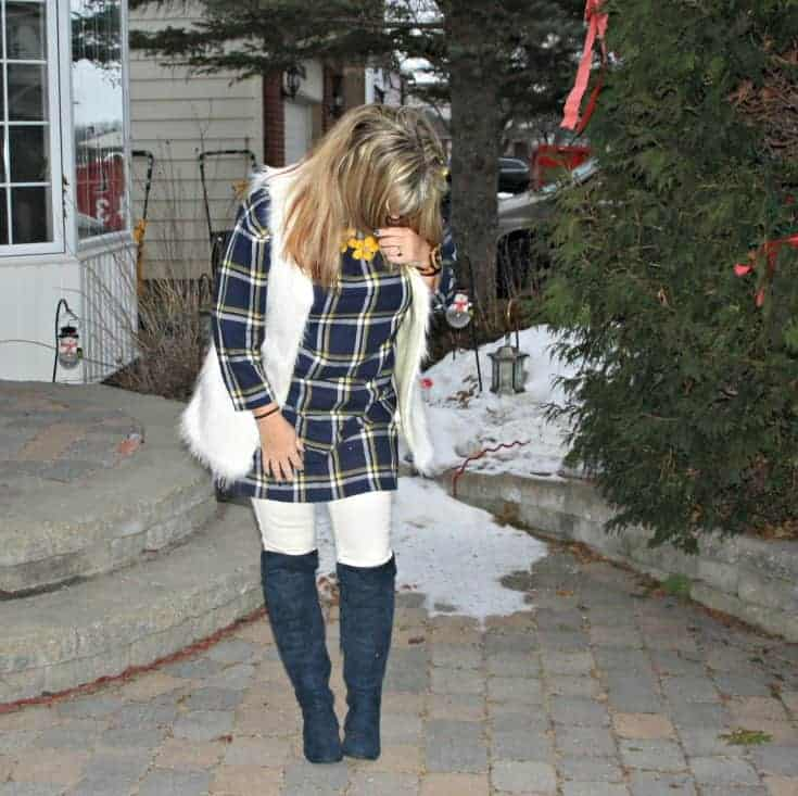 old navy plaid dress and white fur vest and blue suede boots