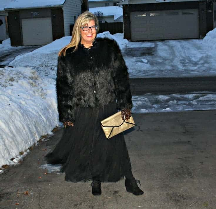 Target Fur coat and Shein Tulle skirt with gold clutch
