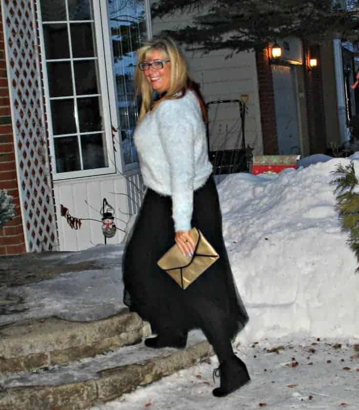 Shein Tulle skirt with a blue fuzzy sweater and gold clutch