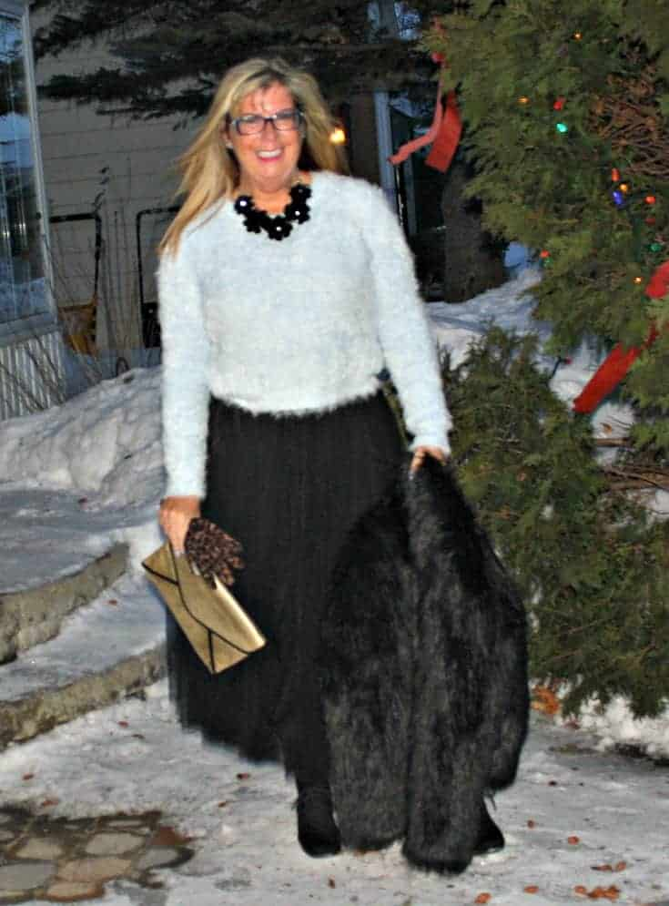 Shein Tulle skirt with a blue fuzzy sweater and fur coat