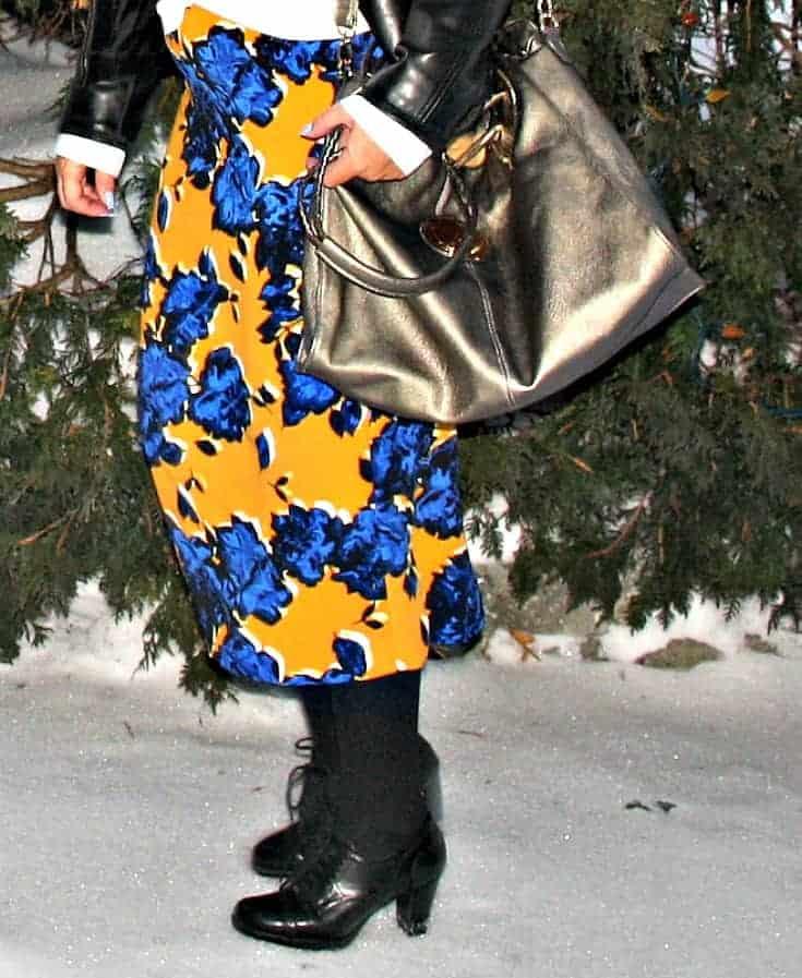 Target Floral skirt  and heeled brogues with metallic bag