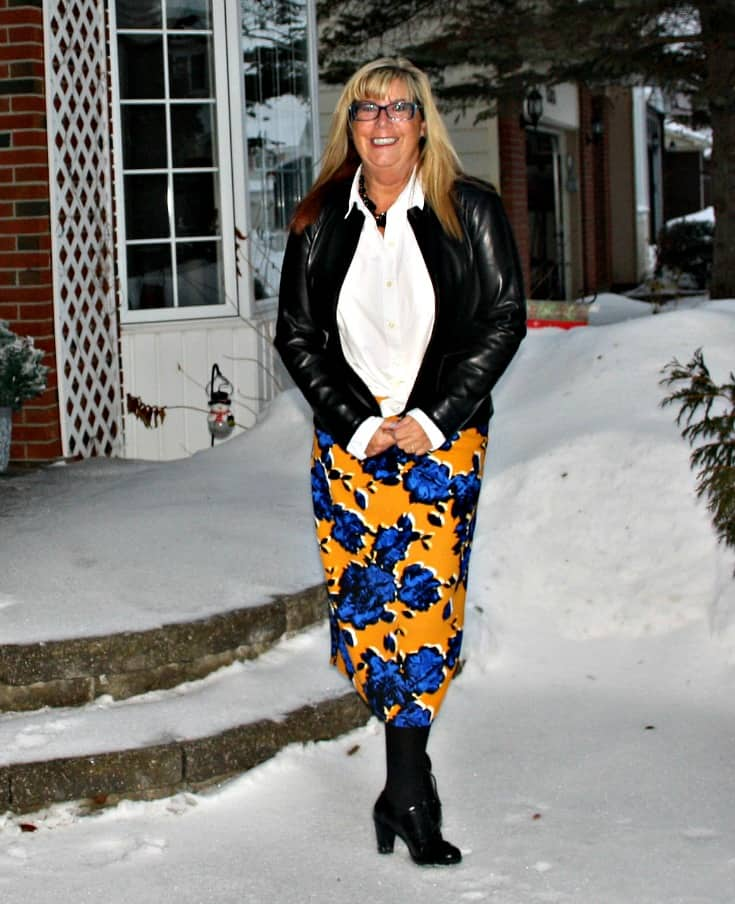 Target Floral skirt with Moto  leather blazer and heeled brogues
