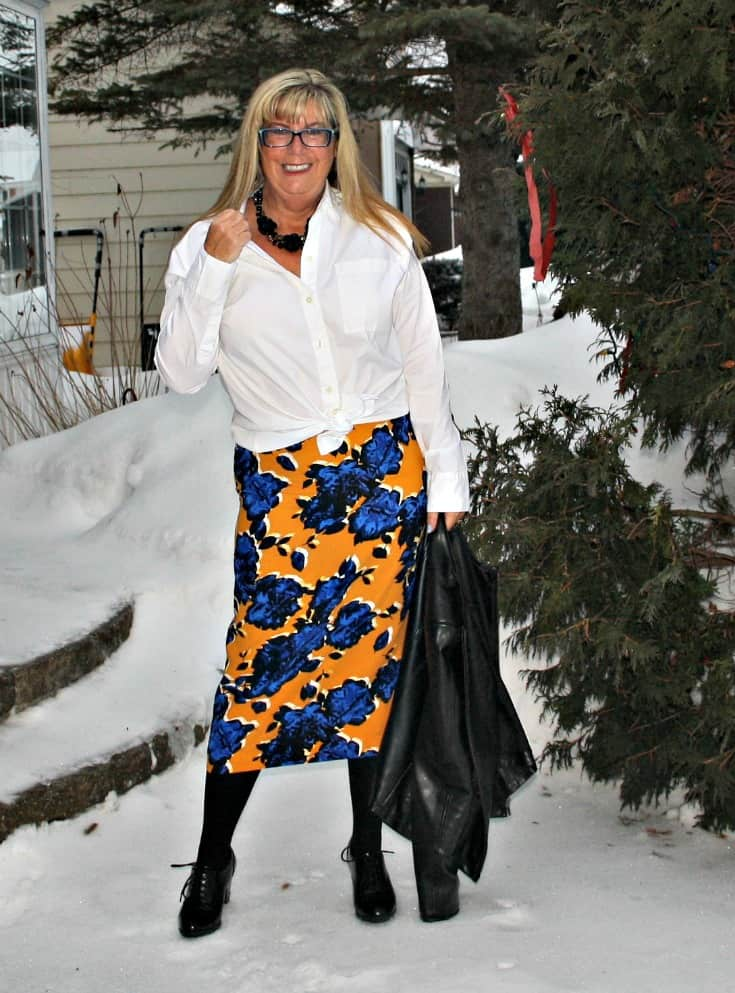 Target Floral skirt with leather blazer and white blouse