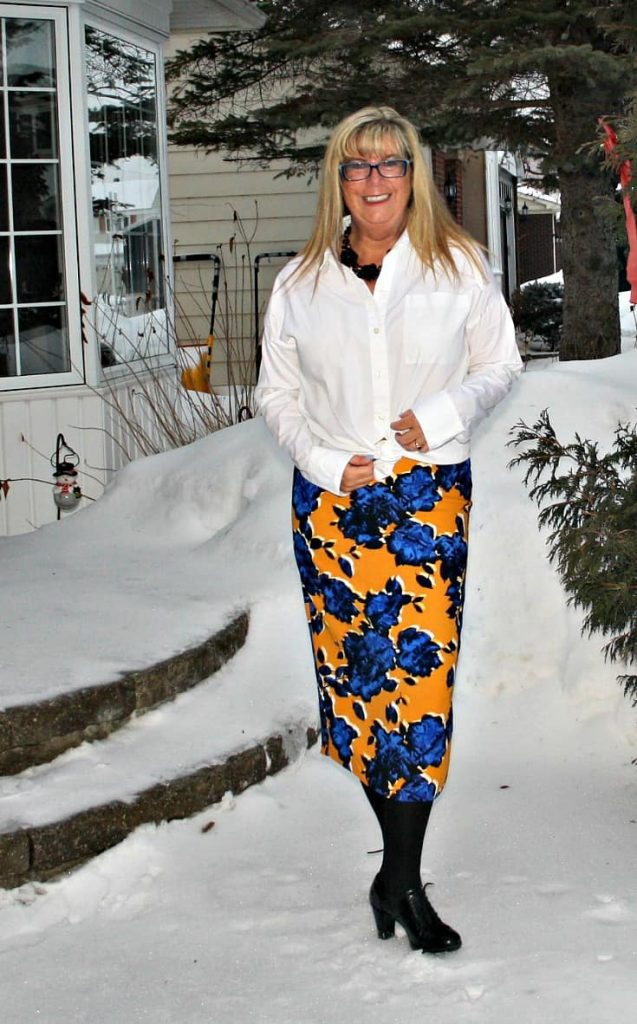 Target Floral skirt with old navy white blouse and heeled brogues