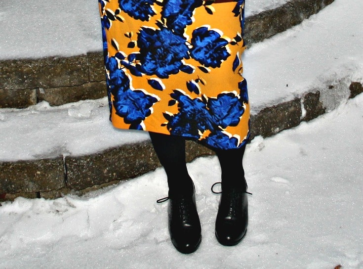 Target Floral skirt and heeled brogues from GH Bass