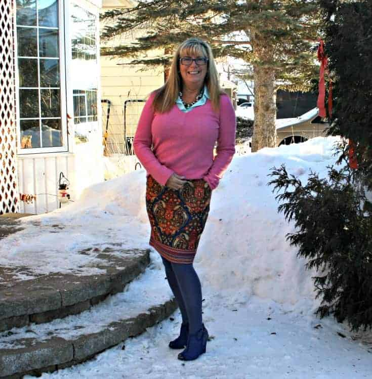 Target Pink Paisley skirt with a pink cashmere sweater and blue wedge boots