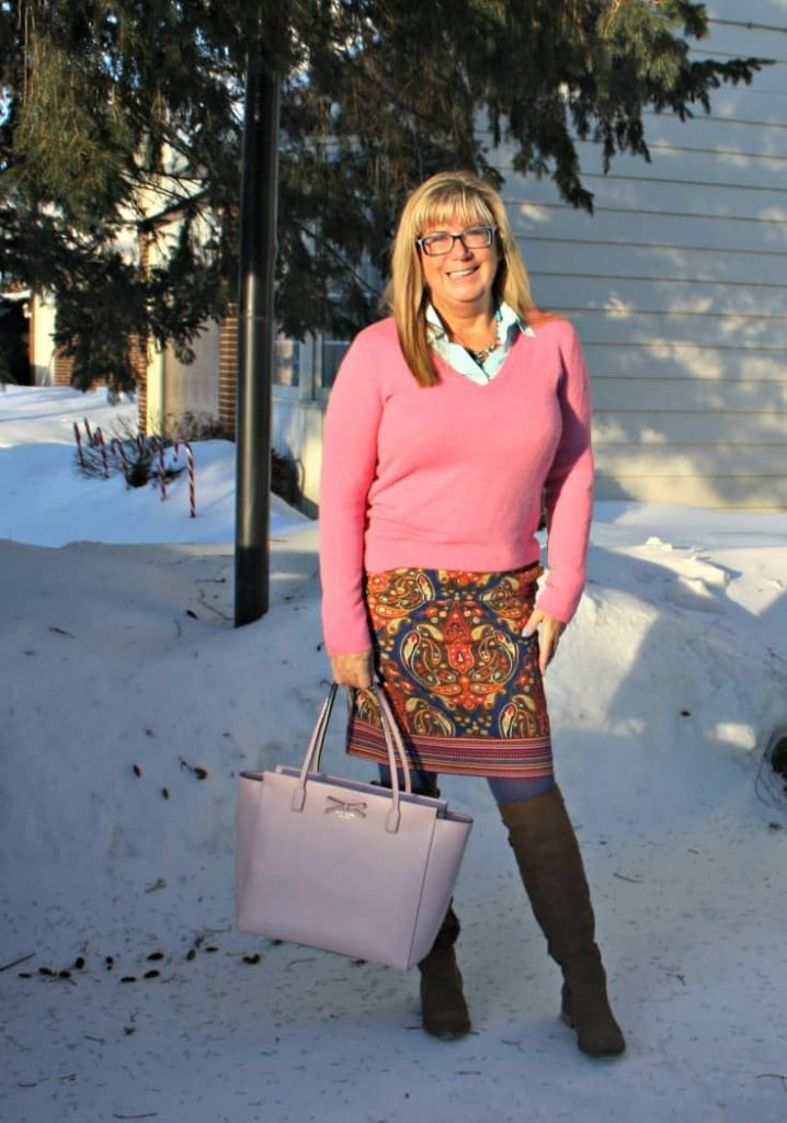 Target Paisley skirt with a cashmere sweater and kate spade bag