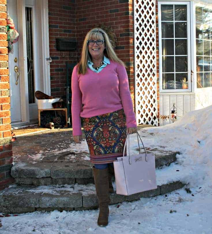 Targetstrolling in a Target Pink Paisley skirt with a pink cashmere sweater and kate spade bag