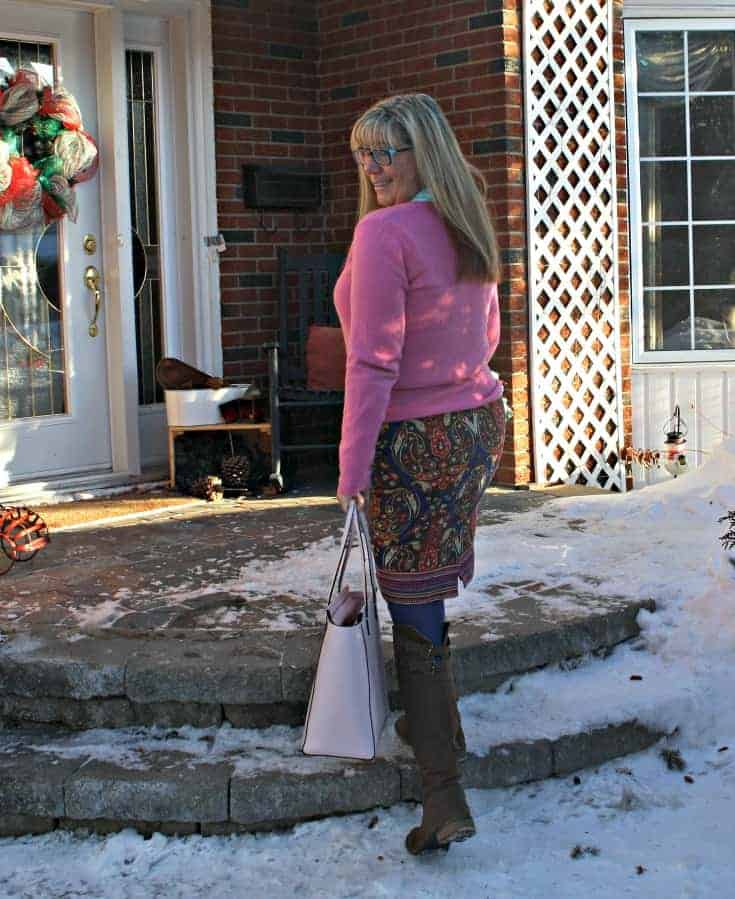 Target Pink Paisley skirt with a pink cashmere sweater and kate spade bag
