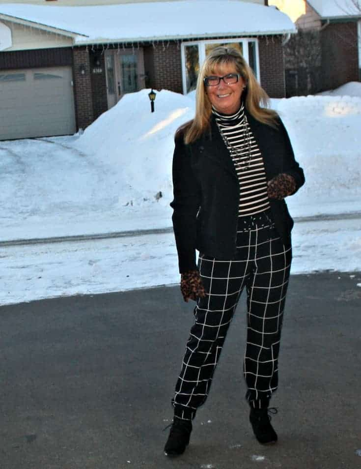 Fun in the sun/snow Target Windowpane joggers and an Old Navy Stripped top all topped with a Banana Republic Moto