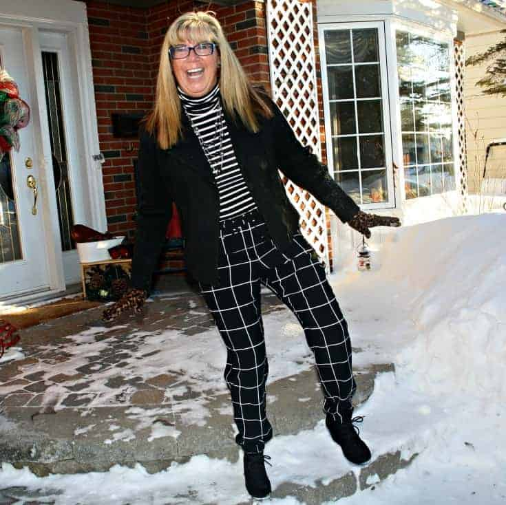 Target Windowpane joggers and an Old Navy Stripped top