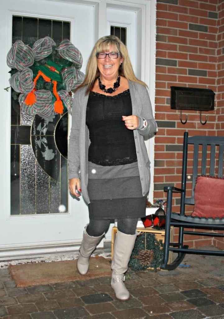 grey striped skirt, boyfriend cardigan and the Jessie Boot from Shoe Dazzle