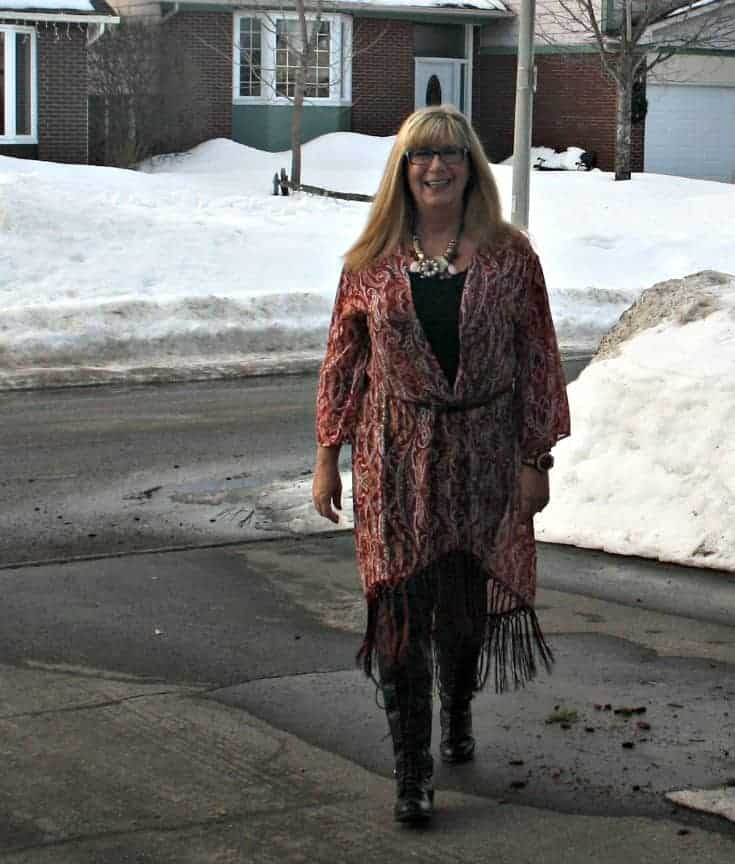 Target Fringe duster and black lace up boots from Shoe Dazzle with black leather leggings