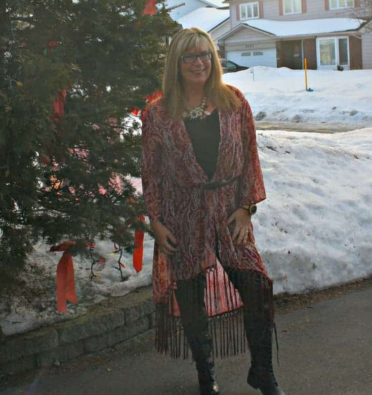 Target Fringe duster and black lace up boots from Shoe Dazzle with leather leggings and a Jord