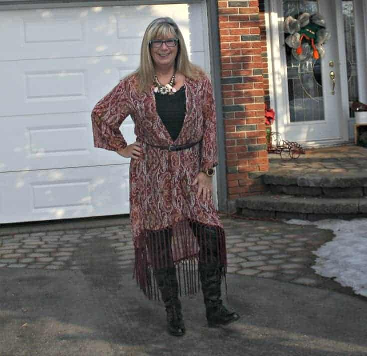 Target Fringe duster and shoe dazzle boots with leather leggings