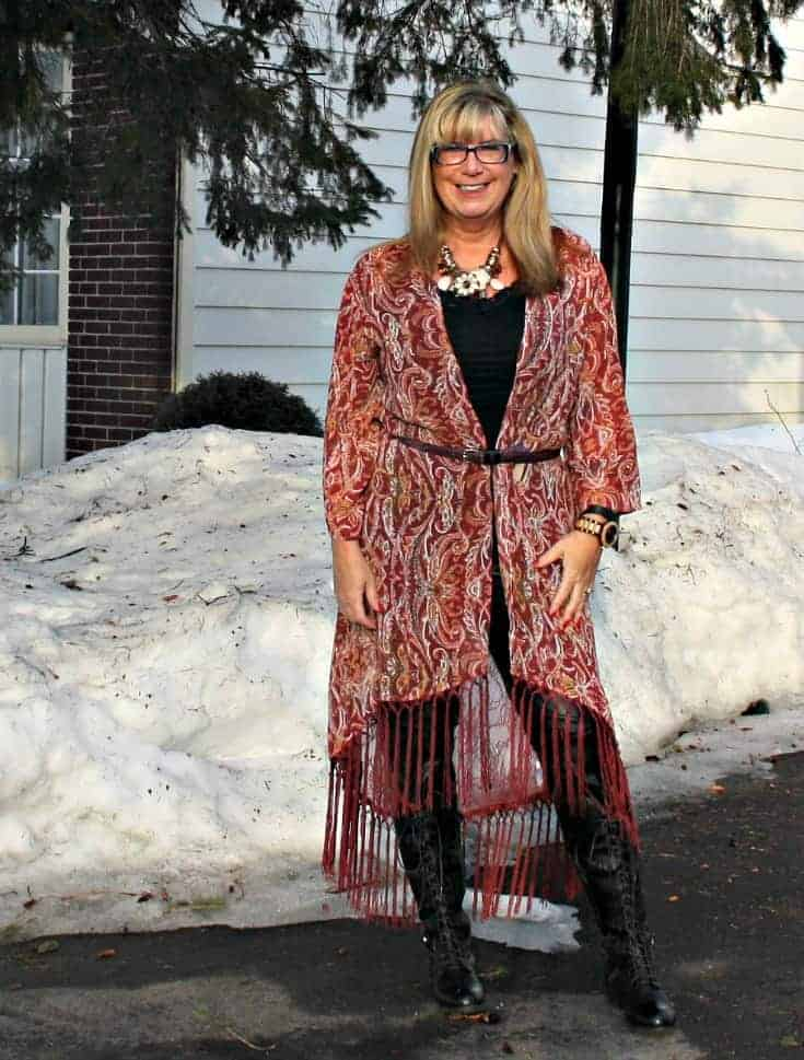Target Fringe duster, lace up boots with leather leggings