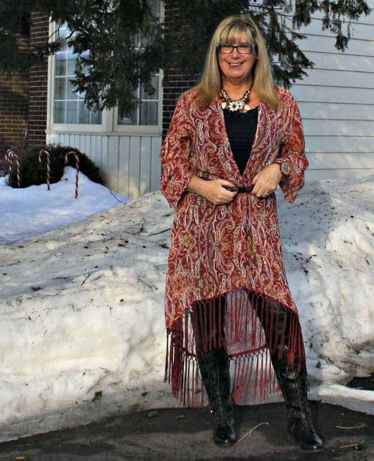 Statement Necklace with a Target Fringe duster and lace up boots with leather leggings