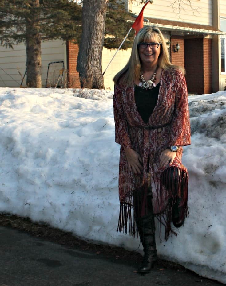 Target Fringe duster and lace up boots with leather leggings and a jord watch