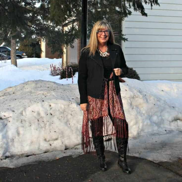 Banana Republic black Moto Jacket with a Fringe duster and lace up boots