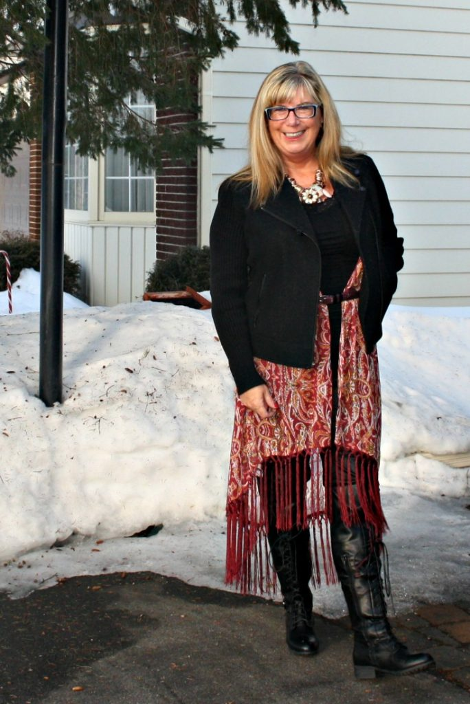 Banana Republic Moto Jacket with a Fringe duster and lace up boots