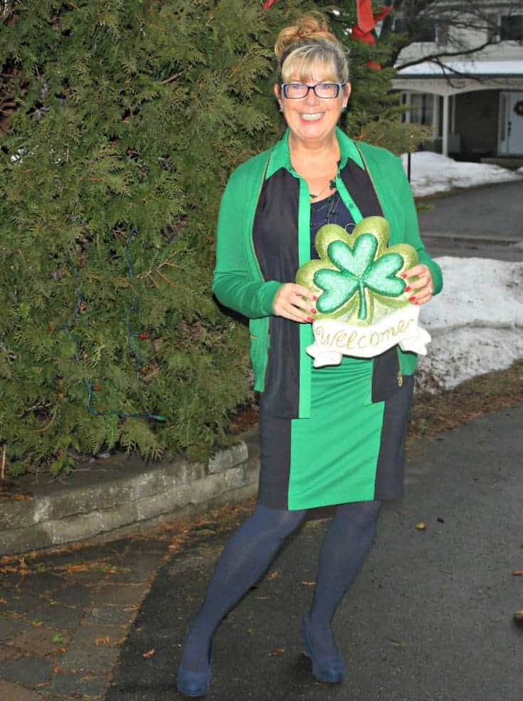 Michael by Michael Kors outfit in Green with welcome Shamrock and blue shoes
