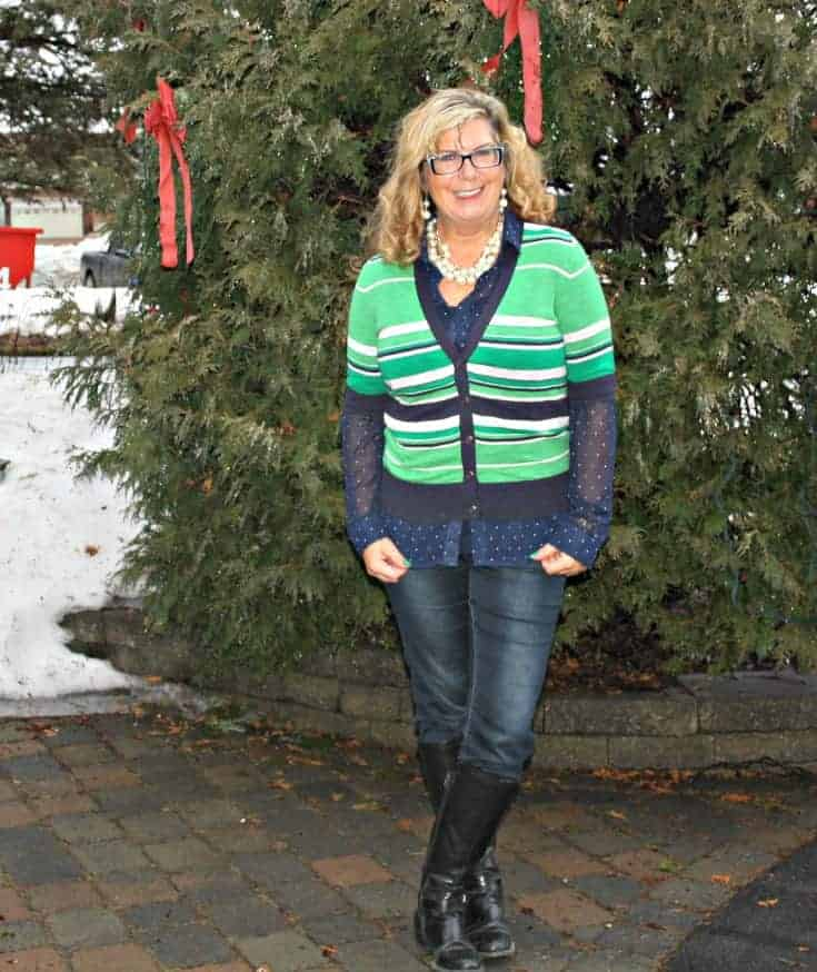 Banana Republic striped sweater. my Haggar Dream Jeans and GH Bass boots and pearls
