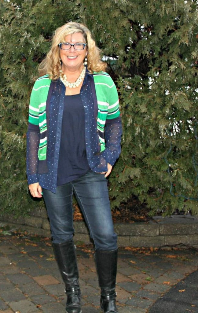 Banana Republic striped sweater and my Haggar Dream Jeans and GH Bass boots