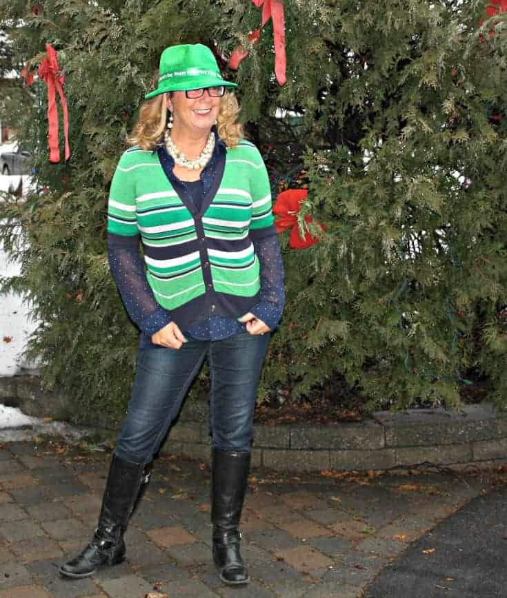 Banana Republic sweater and my Haggar Dream Jeans and a green fedora