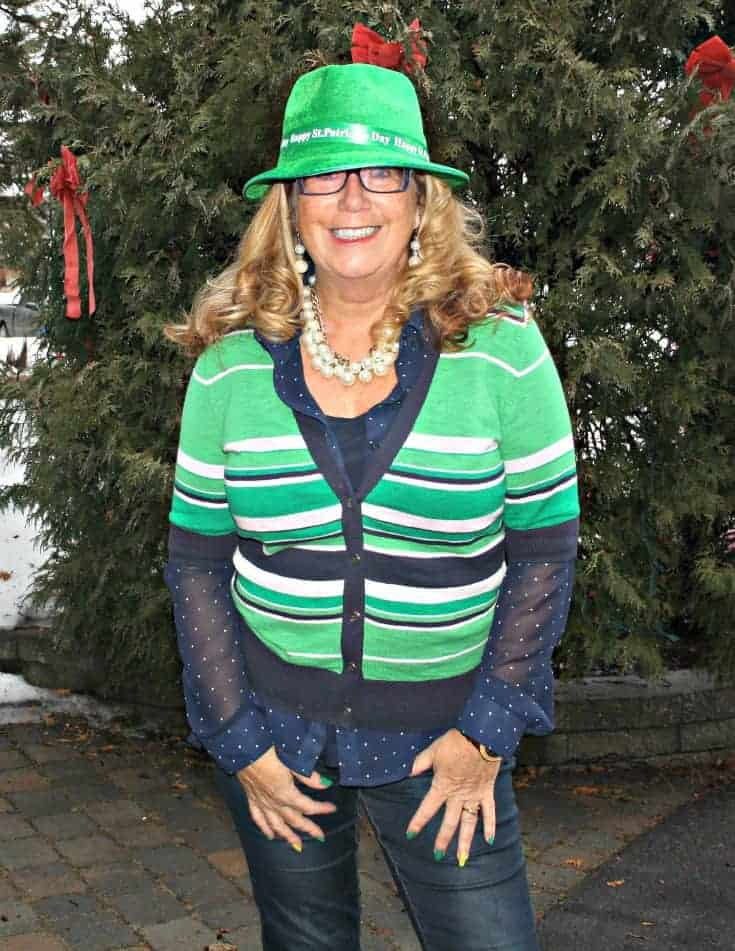 Happy St Pats Day in Banana Republic sweater and my Haggar Dream Jeans