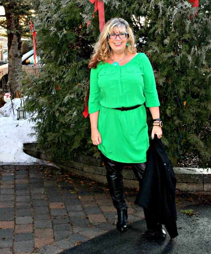 Old Navy Kelly green shirt dress and banana republic wool moto jacket with leather leggings