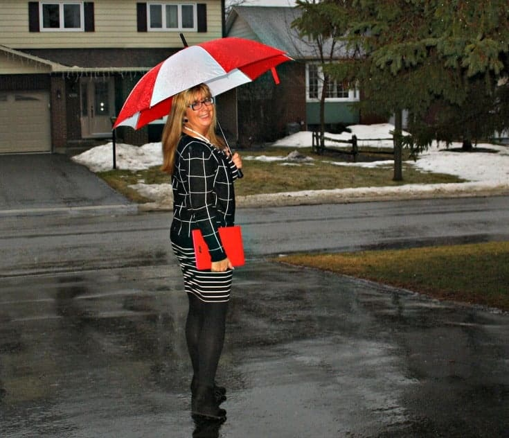 Striped dress with a windowpane cardigan and wedge boots
