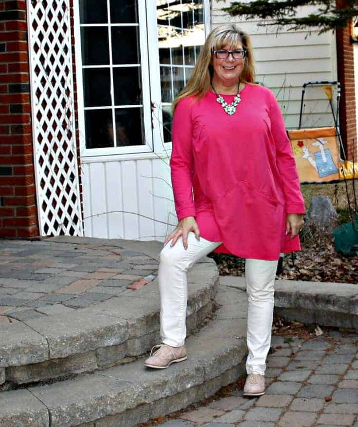 Yosa Necklace and a new chic tunic, white denims and blush oxfords from Shoe dazzle