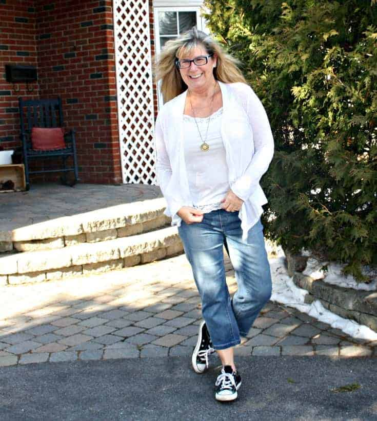Haggar Dream Capris with Converse and a lace cardigan from Forever 21